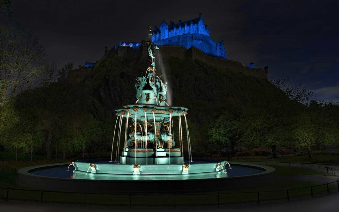 Reconstruction of the Ross Fountain in Edinburgh's Princes Street Gardens