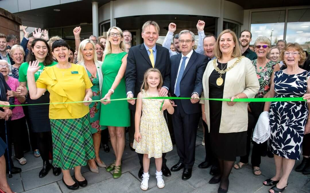 Refurbished and extended entrance at the Beatson West of Scotland Cancer Centre