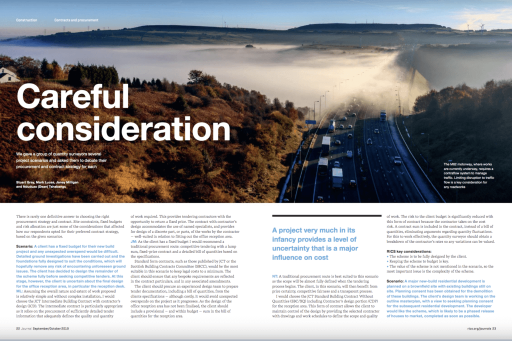 Screenshot of RICS Construction Journal spread