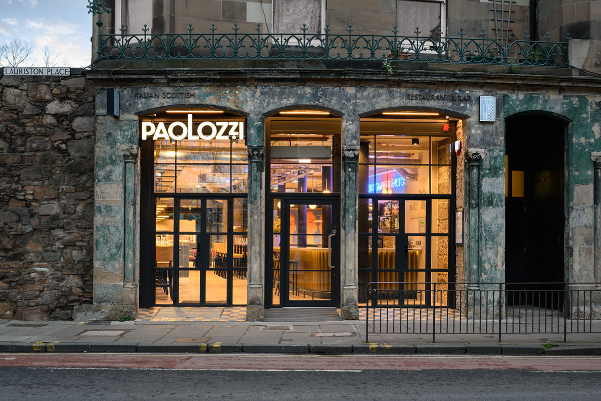 Paolozzi Restaurant frontage by evening